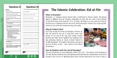 KS2 Eid al Fitr Differentiated Reading Comprehension Activity