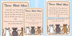 Australia - Three Blind Mice Nursery Rhyme Poster