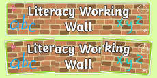 Literacy Working Wall Display Banner EYFS