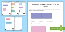 Is It Equal? Partitioning Shapes Activity Sheet