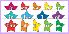 100 High Frequency Words on Stars (Multicolour)