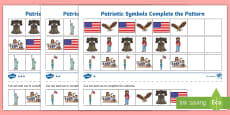* NEW * Patriotic Symbols Differentiated Complete the Pattern Activity Sheet