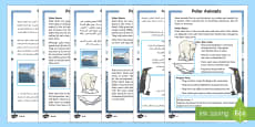 Polar Animals Differentiated Reading Comprehension Activity Arabic/English