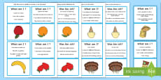 'What Am I?' Food Themed Guessing Game Cards English/German