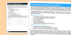 Childminder Child Behaviour Management Agreement