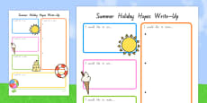 Summer Holiday Hopes Write Up Activity Sheet