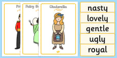 Cinderella Character Describing Words Matching Activity