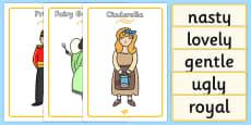 Cinderella Character Describing Words Matching Activity