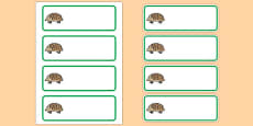 Editable Hedgehog Drawer Peg Name Labels