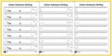 Colour Sentences Writing Activity Sheet Pack