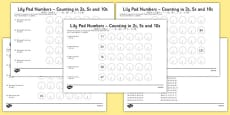 Lily Pad Counting in 2s, 5s and 10s Activity Sheets Mandarin Chinese Translation