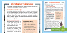 Christopher Columbus Explorer Differentiated Reading Comprehension English/Italian