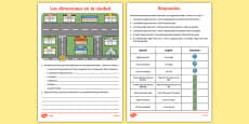Directions And Shops in Town Differentiated Activity Sheet Pack Spanish