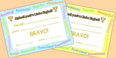 Diplome pentru Limba Engleză - Recompense