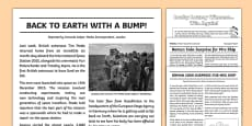 Newspaper Report Examples Resource Pack