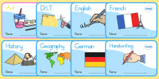 Australia - KS1 Subject Editable Book Labels