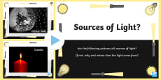 Sources of Light Discussion Prompt PowerPoint