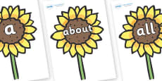 100 High Frequency Words on Sunflowers