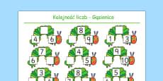 Karta Porządkowanie liczb Uzupełnienie lektury Bardzo głodna gąsienica