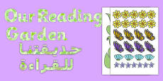 Our Reading Garden Paper Saving Display Lettering Arabic Translation
