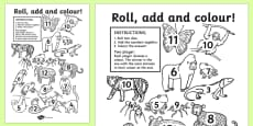 Jungle Themed Roll And Colour Activity Sheet