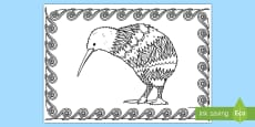 Kiwi Mindfulness Colouring Page