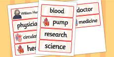William Harvey Word Cards
