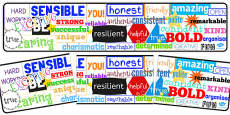 Inspirational Adjective Words Display Banner