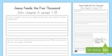 Jesus Feeds the 5000 Journal Page Writing Activity Sheet