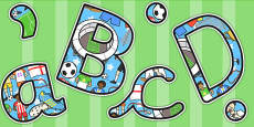 Football World Cup Themed Size Editable Display Lettering