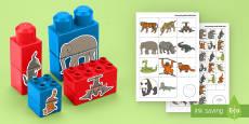 Asian Jungle Animals Matching Connecting Bricks Game