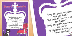 Pussy Cat, Pussy Cat Nursery Rhyme Poster