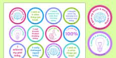 Growth Mindset Achievement Stickers