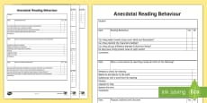 * NEW * Years 1-2 Anecdotal Reading Behaviour Checklist