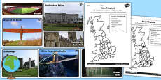 Human Features of England Differentiated Activity Sheets