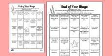 Last Day of School Bingo Activity Sheet Mandarin Chinese Translation