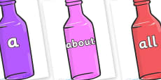 100 High Frequency Words on Bottles