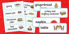 Christmas Cafe Role Play Labels