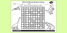 Dinosaur Themed Missing Numbers Number Square