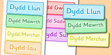 Days of the Week Word Cards Welsh