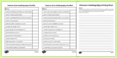 Character Autobiography Activity Sheet