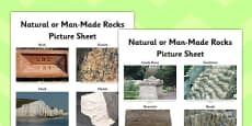 Natural or Man Made Rocks Picture Sheet