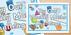 Try Our Weekly Maths Challenge Display Poster