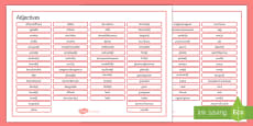 French Adjectives Word Mat