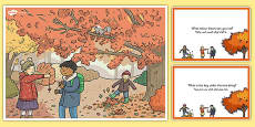 Autumn Woods Scene and Question Cards Arabic Translation