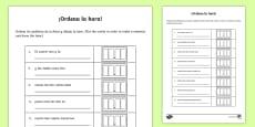 Telling The Time Sentence Scramble Activity Sheet Spanish