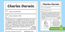 Charles Darwin Significant Individual Fact Sheet