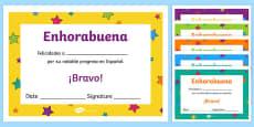 Spanish End of Year Progress Award Certificate Spanish / Español