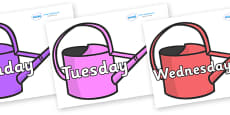 Days of the Week on Watering Cans