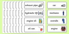 Car Garage Word Cards